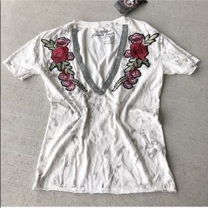 Affliction // Floral Embroidered Deep V Tee